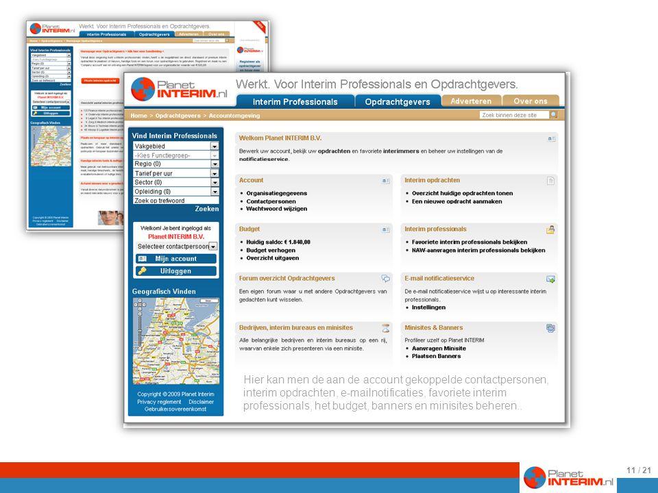De homepage voor Opdrachtgevers… En een impressie van de accountomgeving voor Opdrachtgevers.