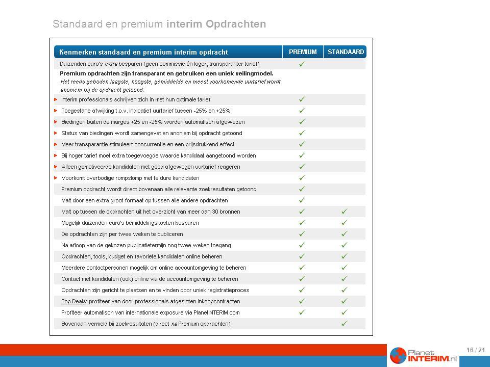 Een opsomming van de eigenschappen van standaard en premium opdrachten..
