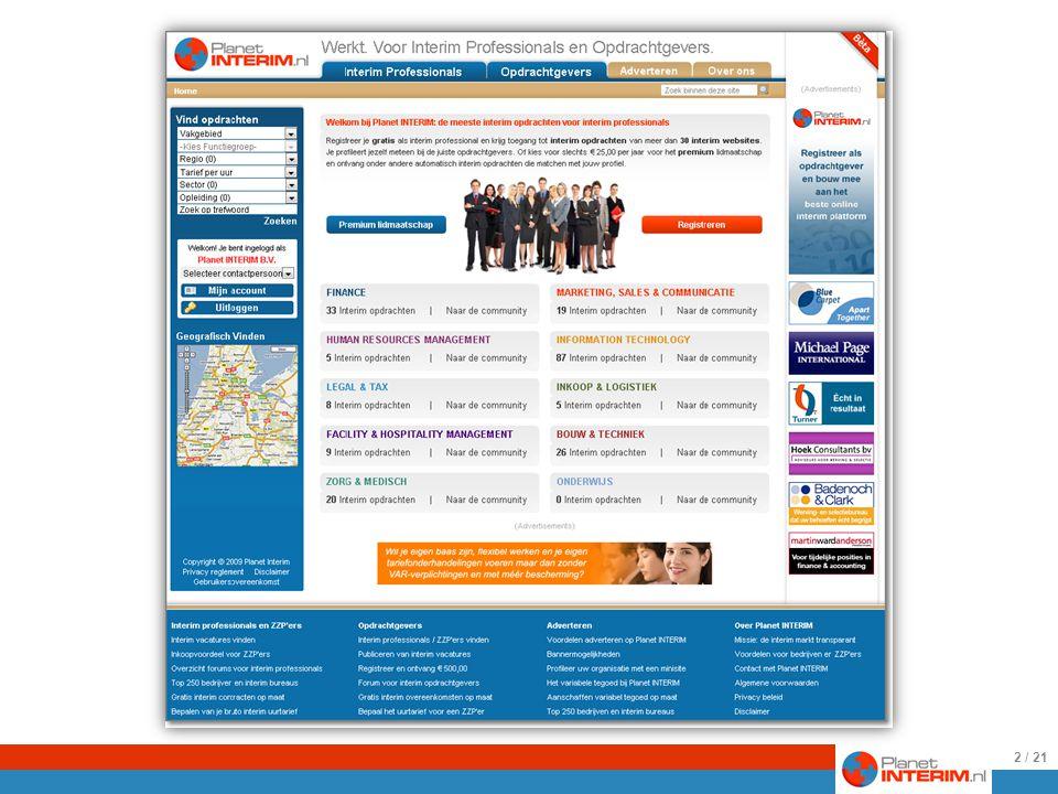 Een impressie van de algemene homepage te bereiken via http://planetinterim.nl 2 / 21