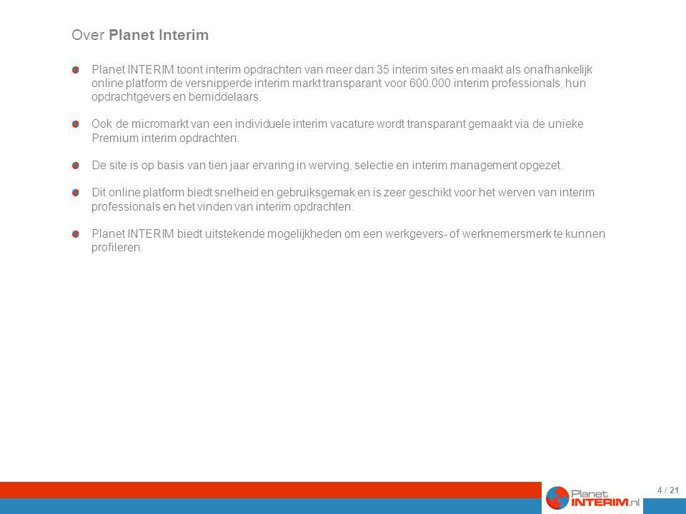 25-8-2009 4 Planet INTERIM toont interim opdrachten van meer dan 35 interim sites en maakt als onafhankelijk online platform de versnipperde interim markt transparant voor 600.000 interim professionals, hun opdrachtgevers en bemiddelaars.
