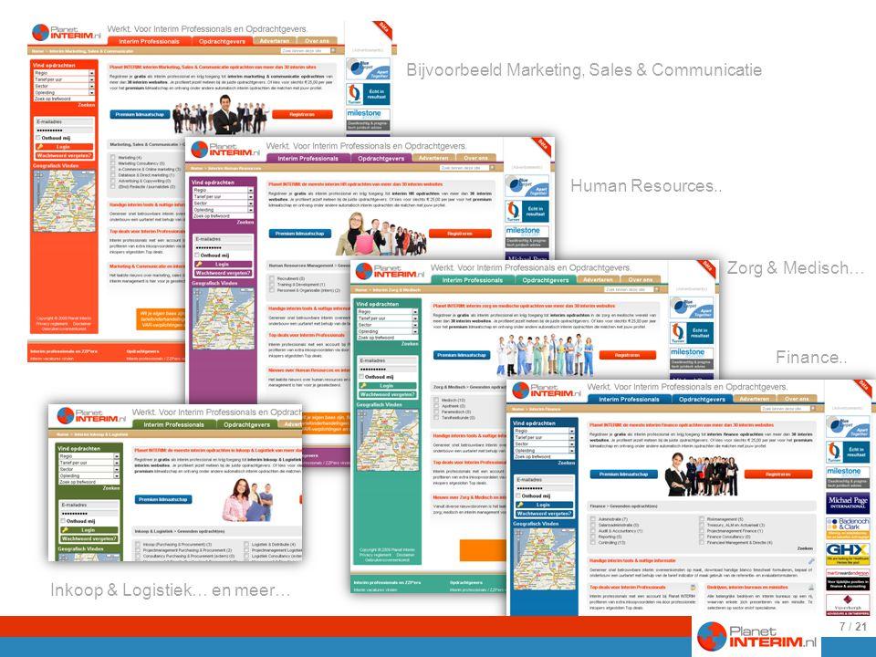 Ieder vakgebied heeft een eigen community Met een eigen kleur homepage, eigen opdrachten, nieuws een forum en dergelijke Human Resources..