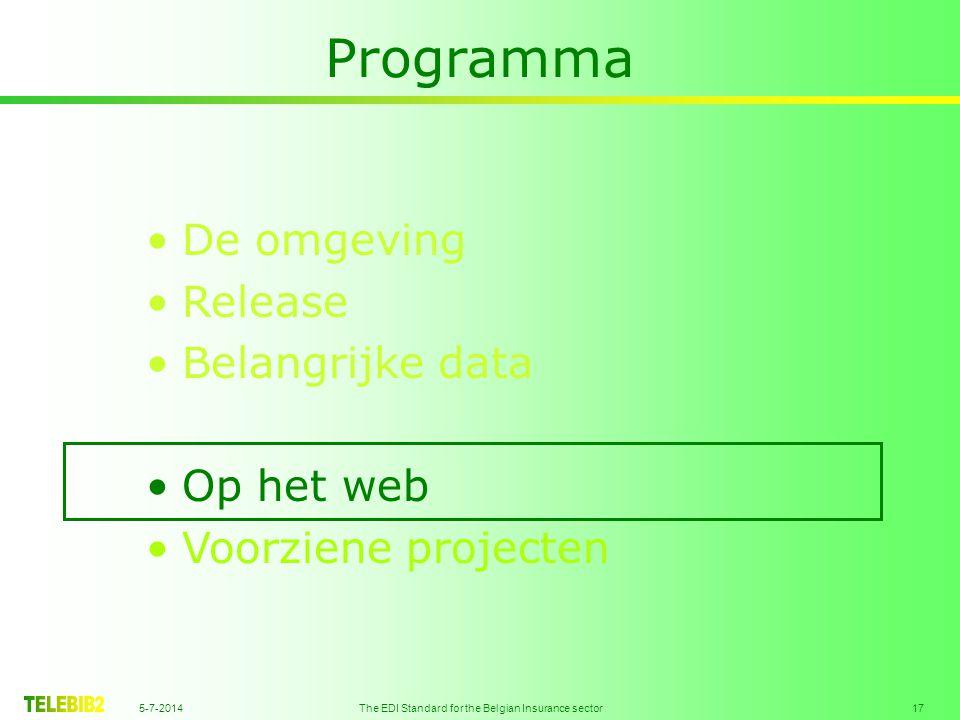 5-7-2014 The EDI Standard for the Belgian Insurance sector 17 Programma •De omgeving •Release •Belangrijke data •Op het web •Voorziene projecten