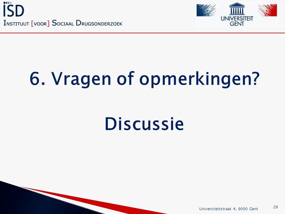 6. Vragen of opmerkingen Discussie Universiteitstraat 4, 9000 Gent 29