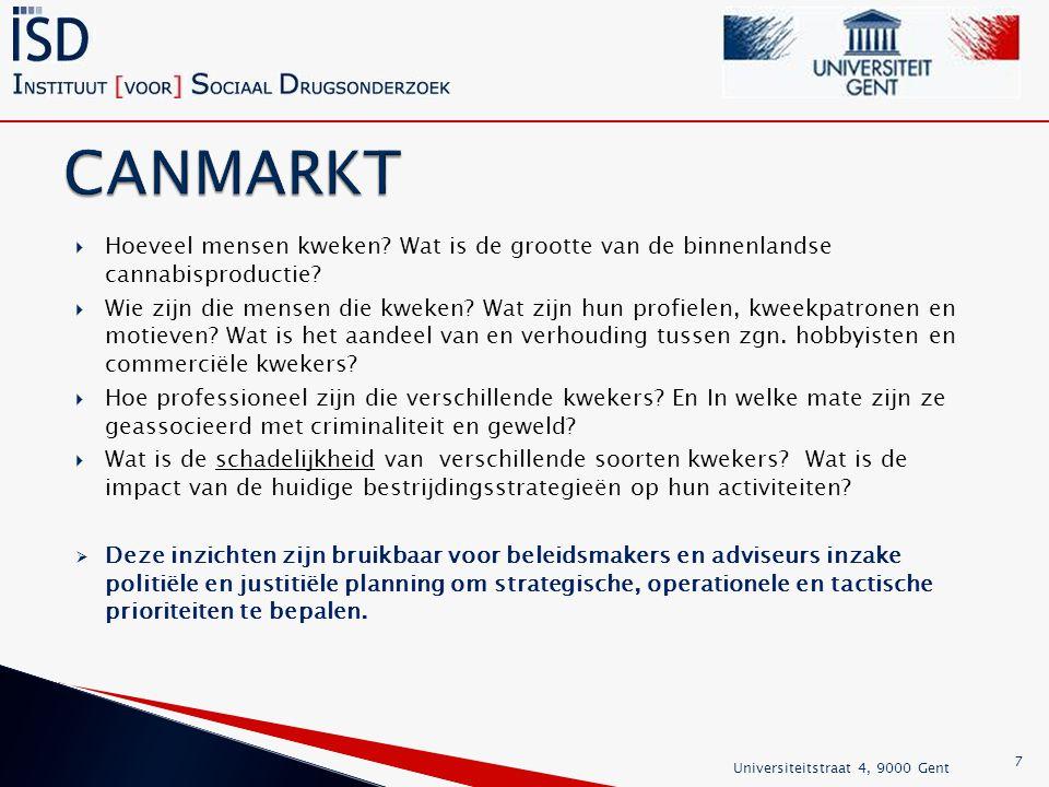 1.het beschrijven van de organisatie van cannabisproductie in België; 2.