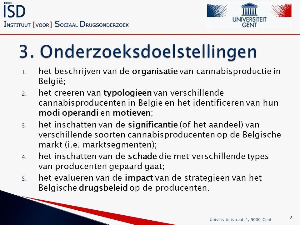 1. het beschrijven van de organisatie van cannabisproductie in België; 2.