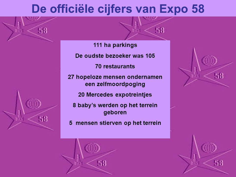 De officiële cijfers van Expo 58 60.000.000 werkuren gepresteerd door 20.000 arbeiders in 3 jaar 41.454.412 bezoekers 27.678.590 kg bouwmateriaal 10.0