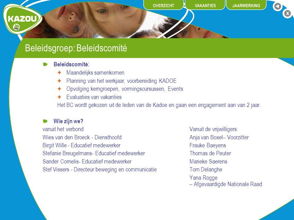 Beleidsgroep: Beleidscomité Beleidscomité : Maandelijks samenkomen Planning van het werkjaar, voorbereiding KADOE Opvolging kerngroepen, vormingscursu