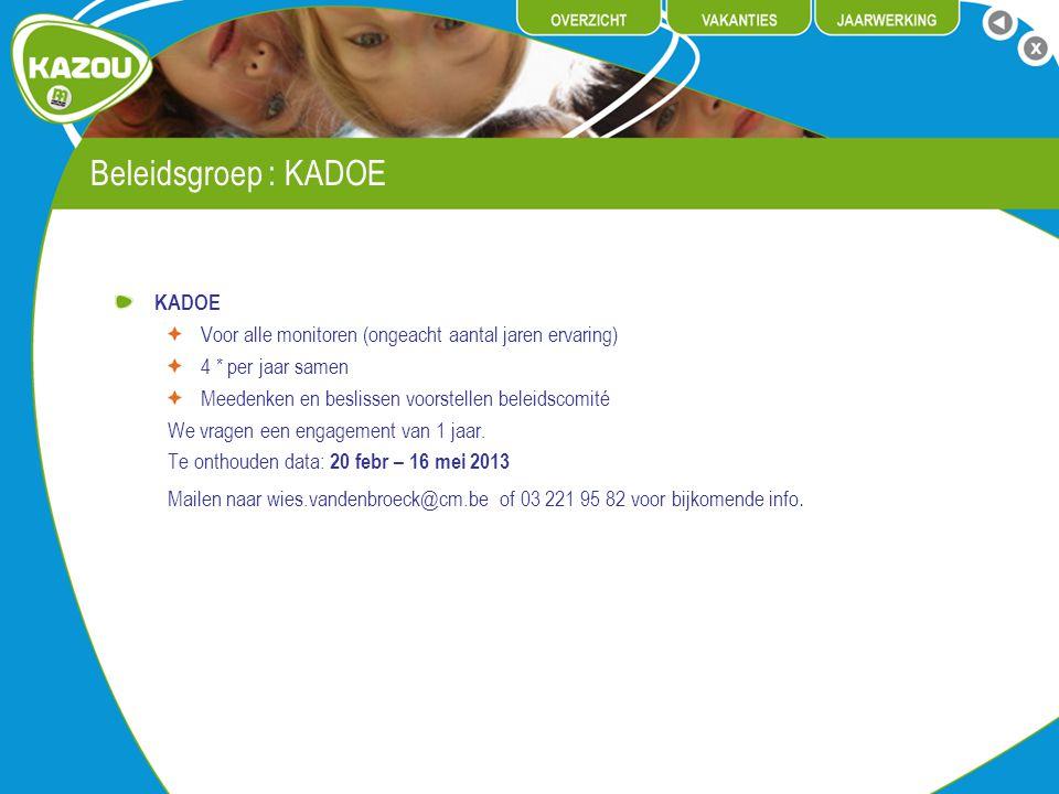 Beleidsgroep : KADOE KADOE Voor alle monitoren (ongeacht aantal jaren ervaring) 4 * per jaar samen Meedenken en beslissen voorstellen beleidscomité We