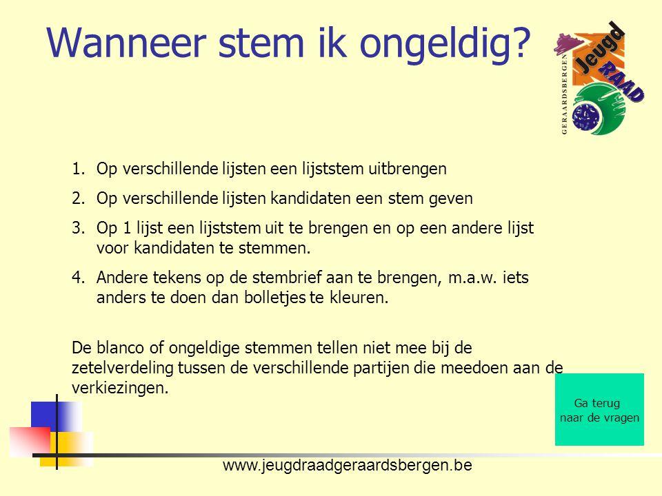 www.jeugdraadgeraardsbergen.be Wanneer stem ik ongeldig.