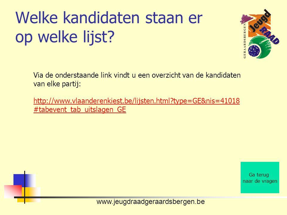 www.jeugdraadgeraardsbergen.be Welke kandidaten staan er op welke lijst? Ga terug naar de vragen Via de onderstaande link vindt u een overzicht van de