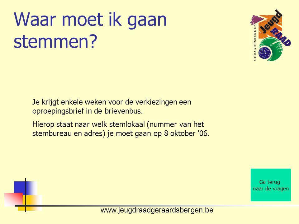 www.jeugdraadgeraardsbergen.be Waar moet ik gaan stemmen.