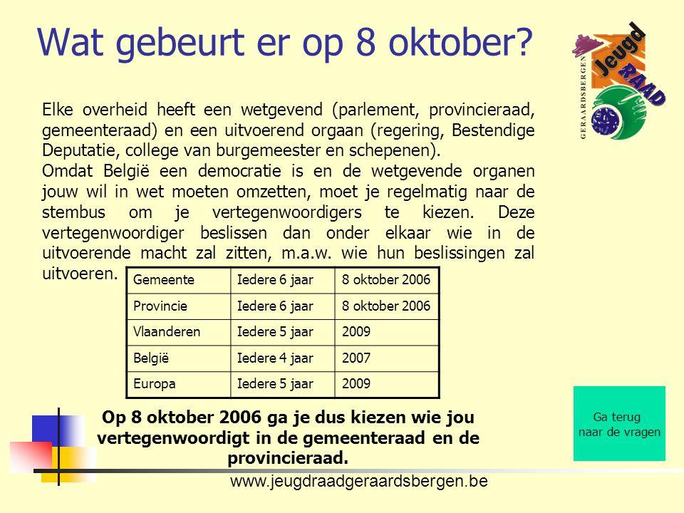 www.jeugdraadgeraardsbergen.be Wat gebeurt er op 8 oktober? Ga terug naar de vragen Elke overheid heeft een wetgevend (parlement, provincieraad, gemee