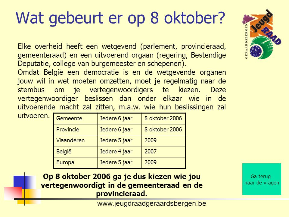 www.jeugdraadgeraardsbergen.be Wat gebeurt er op 8 oktober.