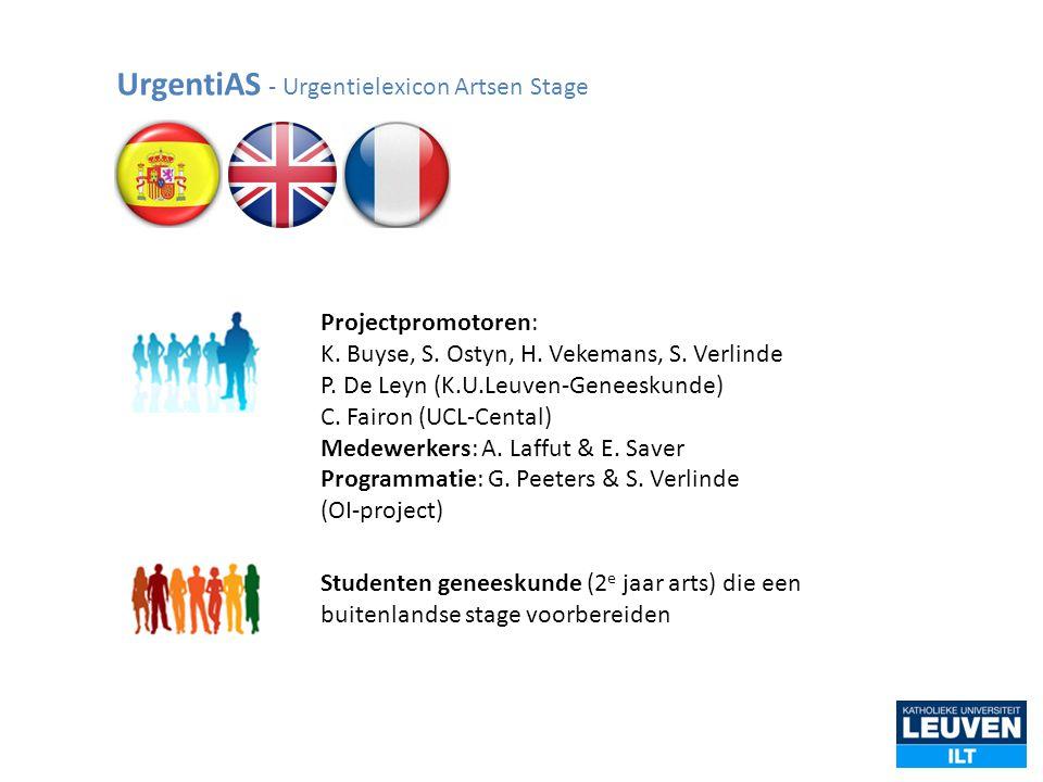 UrgentiAS - Urgentielexicon Artsen Stage Projectpromotoren: K. Buyse, S. Ostyn, H. Vekemans, S. Verlinde P. De Leyn (K.U.Leuven-Geneeskunde) C. Fairon