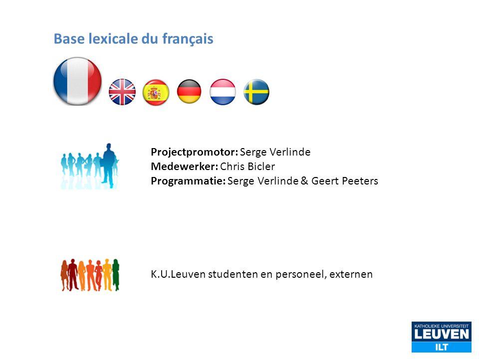 Projectpromotor: Serge Verlinde Medewerker: Chris Bicler Programmatie: Serge Verlinde & Geert Peeters K.U.Leuven studenten en personeel, externen Base
