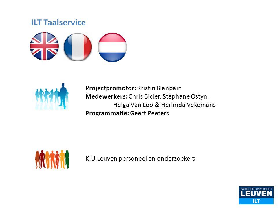 Projectpromotor: Kristin Blanpain Medewerkers: Chris Bicler, Stéphane Ostyn, Helga Van Loo & Herlinda Vekemans Programmatie: Geert Peeters K.U.Leuven