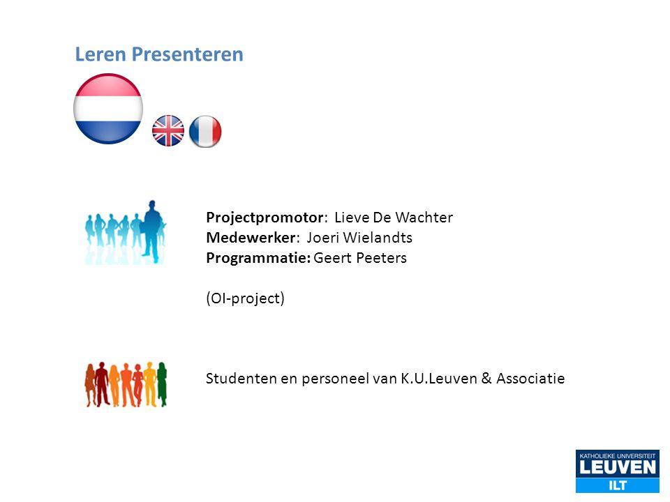 Projectpromotor: Lieve De Wachter Medewerker: Joeri Wielandts Programmatie: Geert Peeters (OI-project) Studenten en personeel van K.U.Leuven & Associa