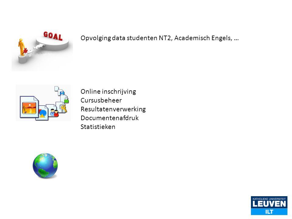 Online inschrijving Cursusbeheer Resultatenverwerking Documentenafdruk Statistieken Opvolging data studenten NT2, Academisch Engels, …