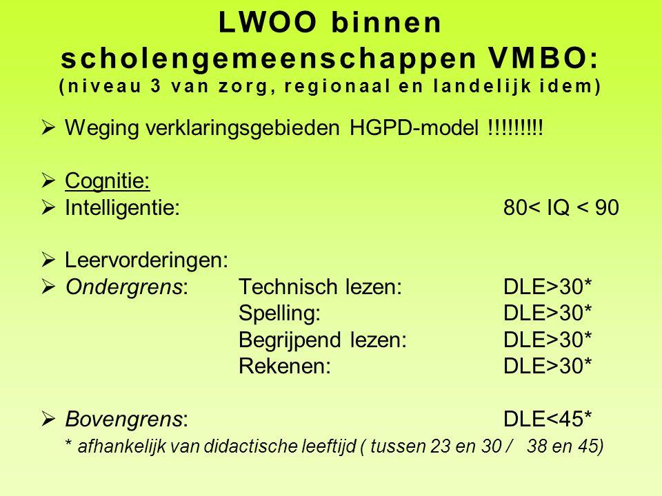 LWOO binnen scholengemeenschappen VMBO: (niveau 3 van zorg, regionaal en landelijk idem)  Weging verklaringsgebieden HGPD-model !!!!!!!!!  Cognitie: