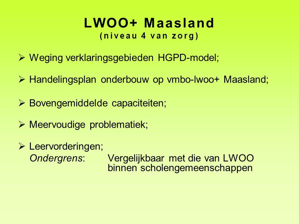 LWOO+ Maasland (niveau 4 van zorg)  Weging verklaringsgebieden HGPD-model;  Handelingsplan onderbouw op vmbo-lwoo+ Maasland;  Bovengemiddelde capac