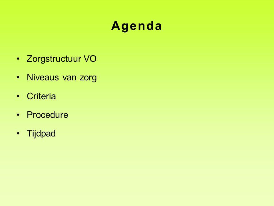 Agenda •Zorgstructuur VO •Niveaus van zorg •Criteria •Procedure •Tijdpad