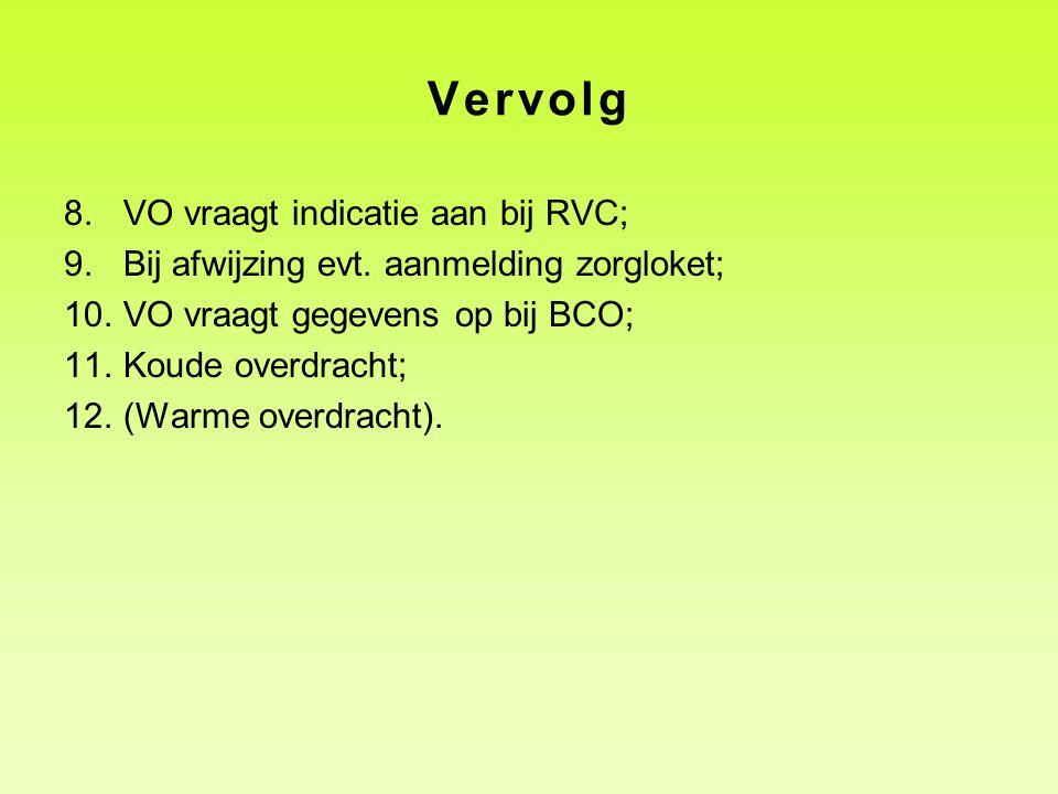 Vervolg 8.VO vraagt indicatie aan bij RVC; 9.Bij afwijzing evt. aanmelding zorgloket; 10.VO vraagt gegevens op bij BCO; 11.Koude overdracht; 12.(Warme