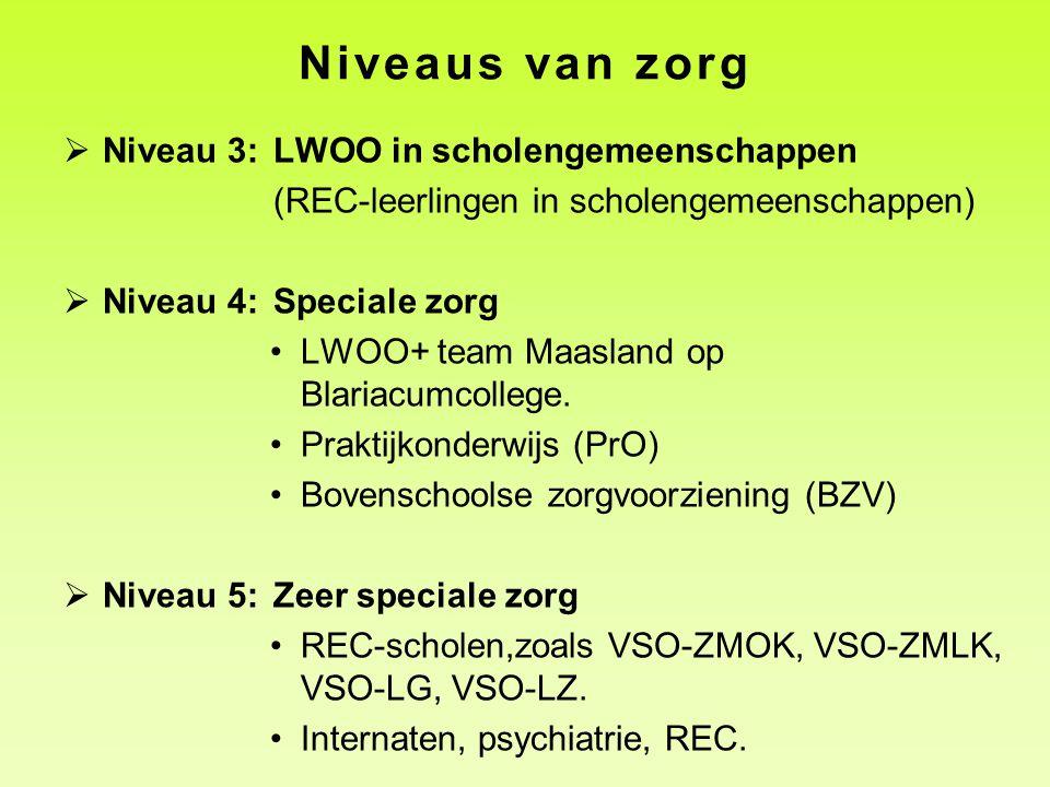 Niveaus van zorg  Niveau 3:LWOO in scholengemeenschappen (REC-leerlingen in scholengemeenschappen)  Niveau 4: Speciale zorg •LWOO+ team Maasland op