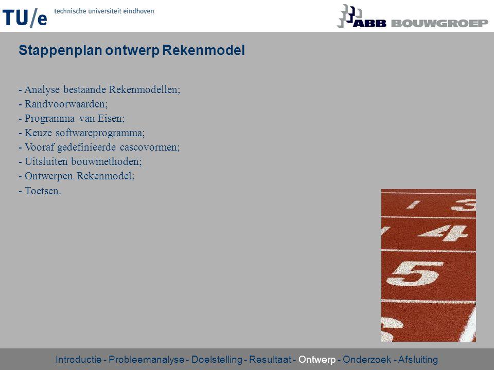 - Analyse bestaande Rekenmodellen; - Randvoorwaarden; - Programma van Eisen; - Keuze softwareprogramma; - Vooraf gedefinieerde cascovormen; - Uitsluit