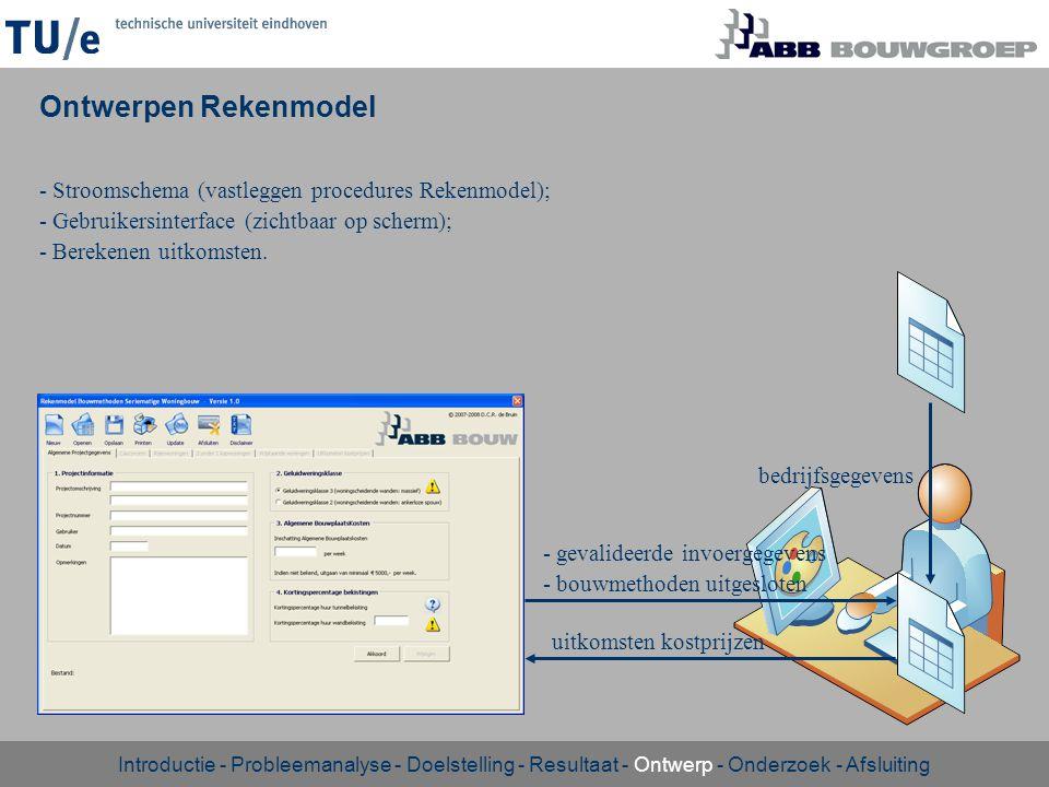 - Stroomschema (vastleggen procedures Rekenmodel); - Gebruikersinterface (zichtbaar op scherm); - Berekenen uitkomsten. Ontwerpen Rekenmodel Introduct