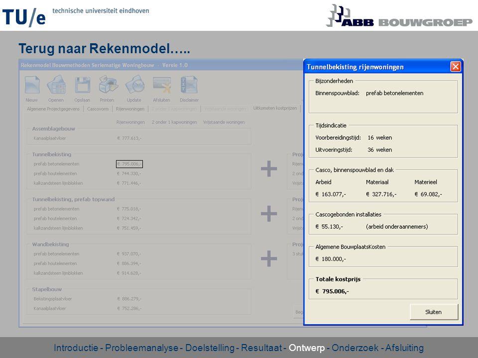 Terug naar Rekenmodel….. Introductie - Probleemanalyse - Doelstelling - Resultaat - Ontwerp - Onderzoek - Afsluiting