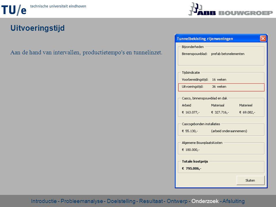 Uitvoeringstijd Aan de hand van intervallen, productietempo's en tunnelinzet. Introductie - Probleemanalyse - Doelstelling - Resultaat - Ontwerp - Ond