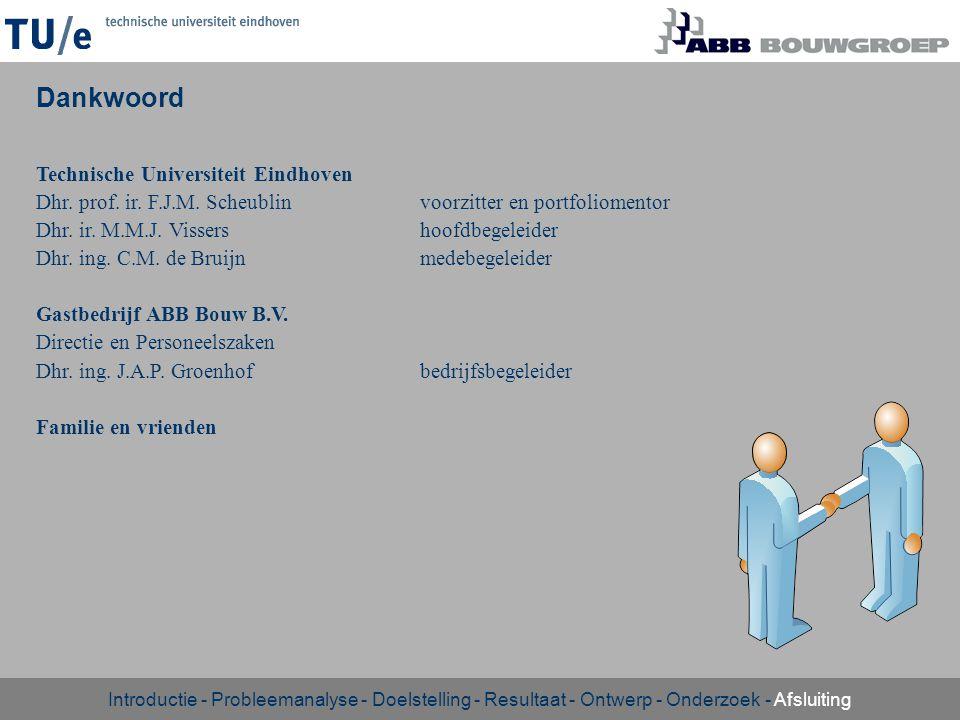 Technische Universiteit Eindhoven Dhr. prof. ir. F.J.M. Scheublinvoorzitter en portfoliomentor Dhr. ir. M.M.J. Vissershoofdbegeleider Dhr. ing. C.M. d