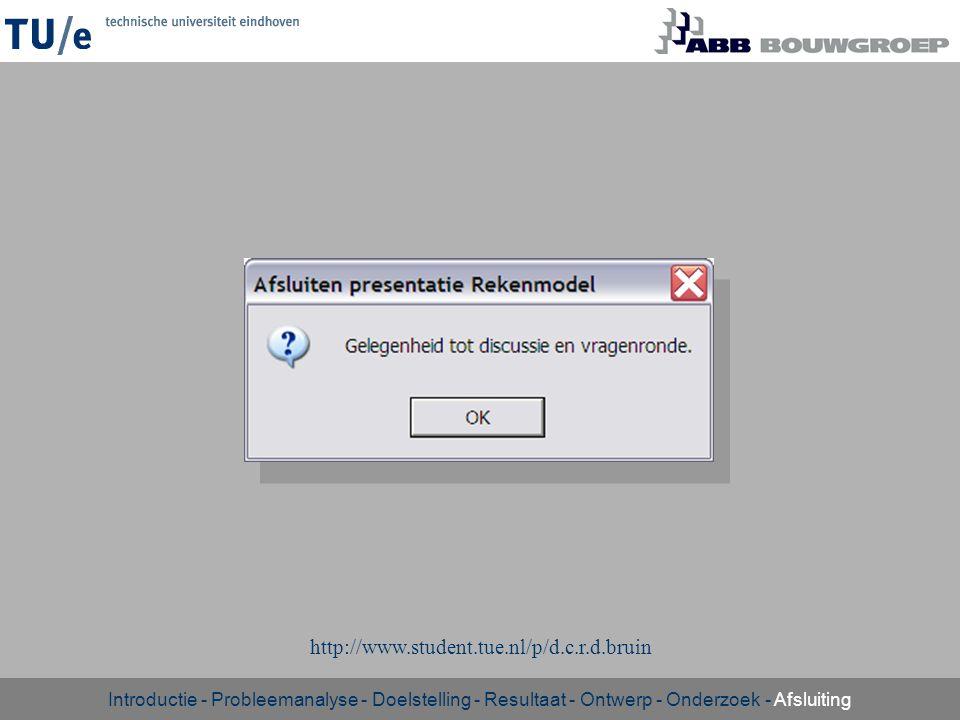 - http://www.student.tue.nl/p/d.c.r.d.bruin Introductie - Probleemanalyse - Doelstelling - Resultaat - Ontwerp - Onderzoek - Afsluiting
