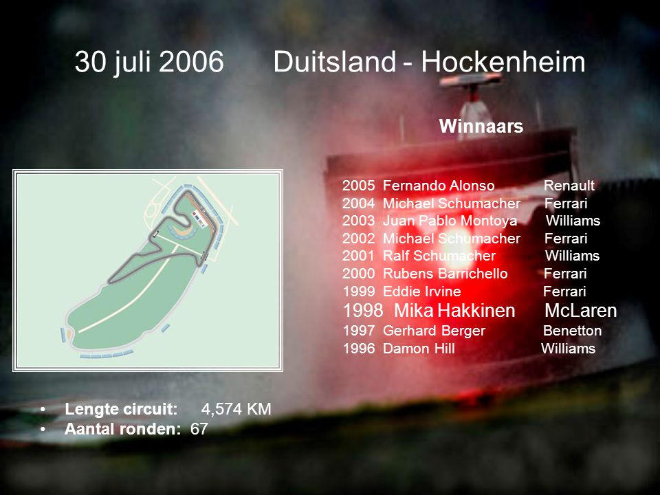 16 juli 2006 Frankrijk - Magny-Cours •Lengte circuit: 4,411 KM •Aantal ronden: 70 Winnaars 2004 Fernando Alonso Renault 2004 Michael Schumacher Ferrari 2003 Ralf Schumacher Williams 2002 Michael Schumacher Ferrari 2001 Michael Schumacher Ferrari 2000 David Coulthard McLaren 1999 Heinz-Harald Frentzen Jordan 1998 Michael Schumacher Ferrari 1997 Michael Schumacher Ferrari 1996 Damon Hill Williams