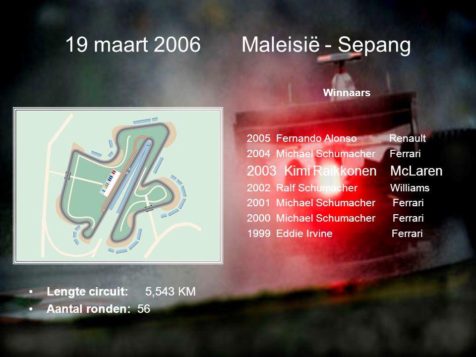 •Lengte circuit: 5,417 KM •Aantal ronden: 57 12 maart 2006 Bahrein - Sakhir Winnaars 2005 Fernando Alonso Renault 2004 Michael Schumacher Ferrari