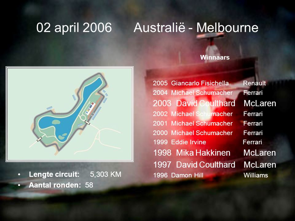 02 april 2006 Australië - Melbourne •Lengte circuit: 5,303 KM •Aantal ronden: 58 Winnaars 2005 Giancarlo Fisichella Renault 2004 Michael Schumacher Ferrari 2003 David Coulthard McLaren 2002 Michael Schumacher Ferrari 2001 Michael Schumacher Ferrari 2000 Michael Schumacher Ferrari 1999 Eddie Irvine Ferrari 1998 Mika Hakkinen McLaren 1997 David Coulthard McLaren 1996 Damon Hill Williams