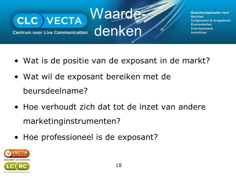 Waarde- denken •Wat is de positie van de exposant in de markt.