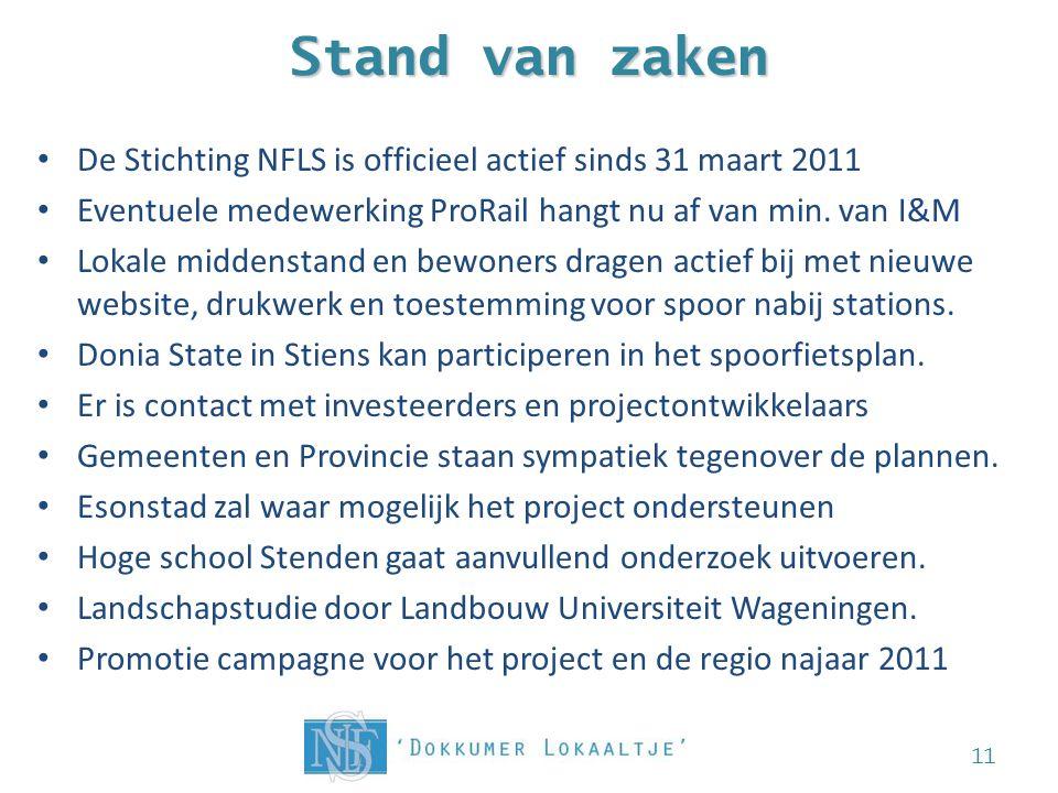 Stand van zaken • De Stichting NFLS is officieel actief sinds 31 maart 2011 • Eventuele medewerking ProRail hangt nu af van min.