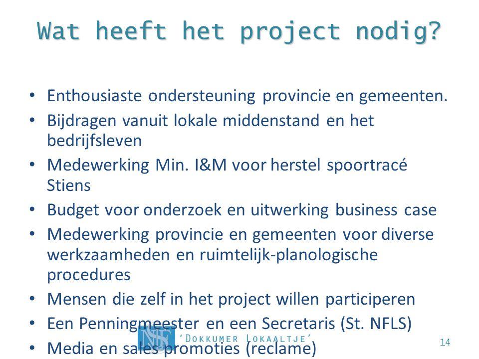 Wat heeft het project nodig.• Enthousiaste ondersteuning provincie en gemeenten.