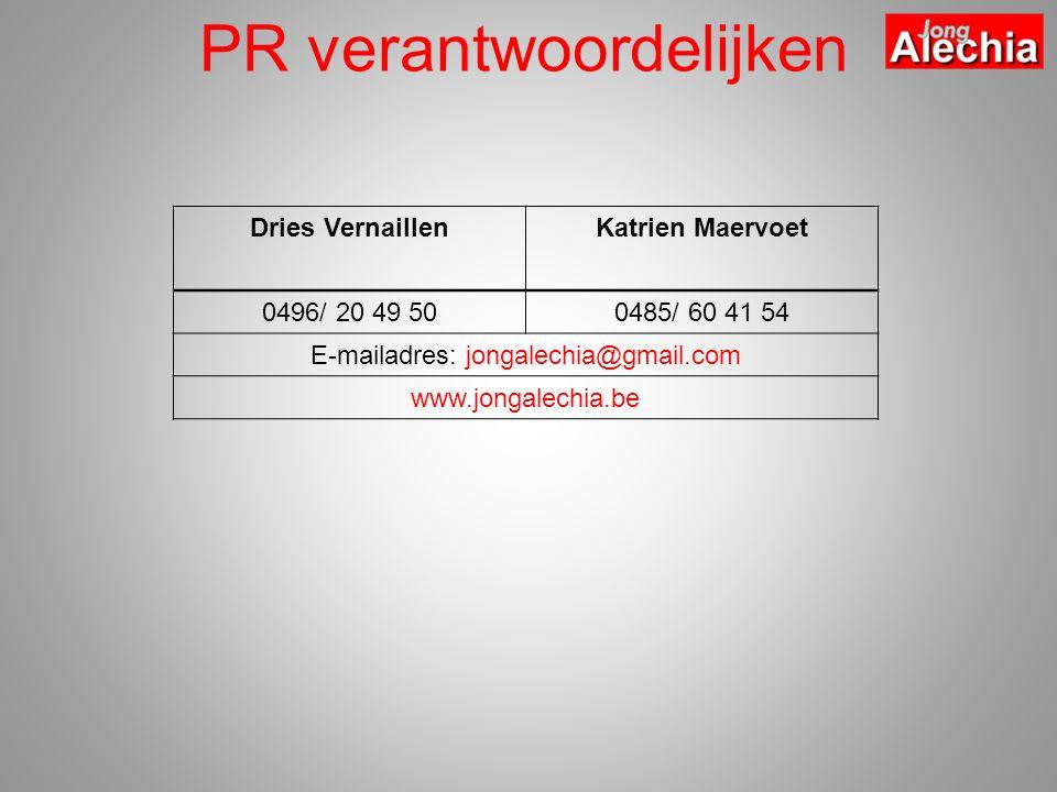 PR verantwoordelijken Dries VernaillenKatrien Maervoet 0496/ 20 49 500485/ 60 41 54 E-mailadres: jongalechia@gmail.com www.jongalechia.be