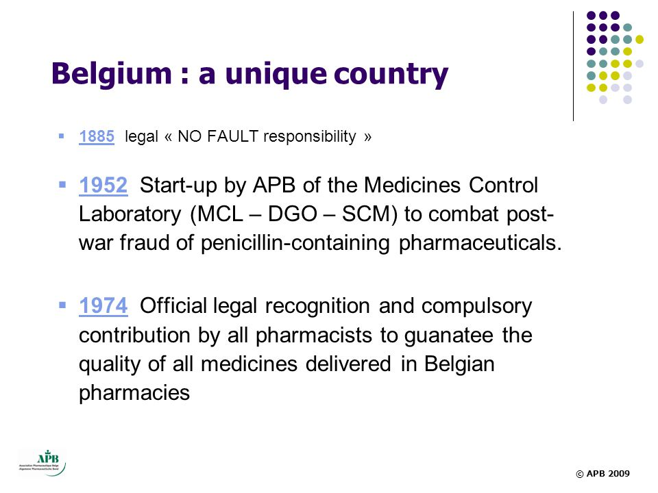 Belgium : a unique country  1885 legal « NO FAULT responsibility »  1952 Start-up by APB of the Medicines Control Laboratory (MCL – DGO – SCM) to combat post- war fraud of penicillin-containing pharmaceuticals.