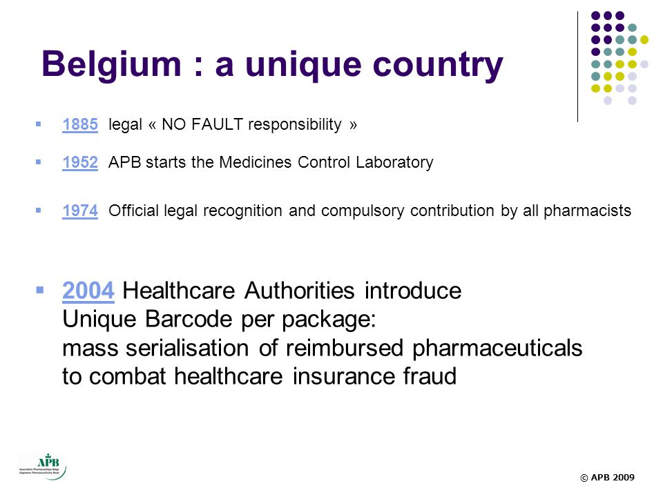  1885 legal « NO FAULT responsibility »  1952 APB starts the Medicines Control Laboratory  1974 Official legal recognition and compulsory contribution by all pharmacists  2004 Healthcare Authorities introduce Unique Barcode per package: mass serialisation of reimbursed pharmaceuticals to combat healthcare insurance fraud Belgium : a unique country © APB 2009