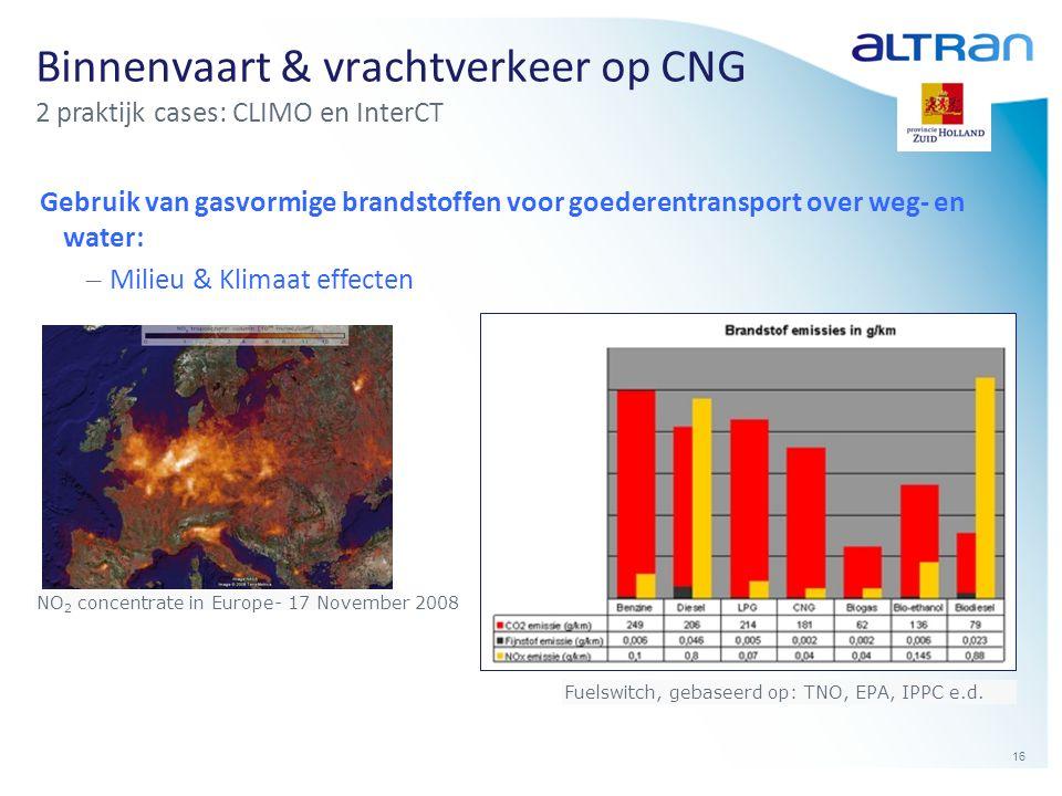 16 Binnenvaart & vrachtverkeer op CNG 2 praktijk cases: CLIMO en InterCT Gebruik van gasvormige brandstoffen voor goederentransport over weg- en water