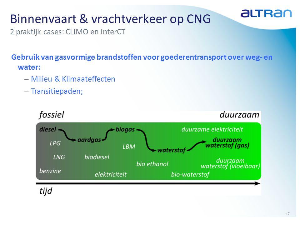17 Binnenvaart & vrachtverkeer op CNG 2 praktijk cases: CLIMO en InterCT Gebruik van gasvormige brandstoffen voor goederentransport over weg- en water