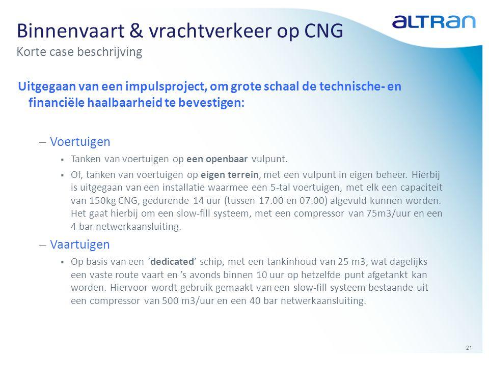 21 Binnenvaart & vrachtverkeer op CNG Korte case beschrijving Uitgegaan van een impulsproject, om grote schaal de technische- en financiële haalbaarhe