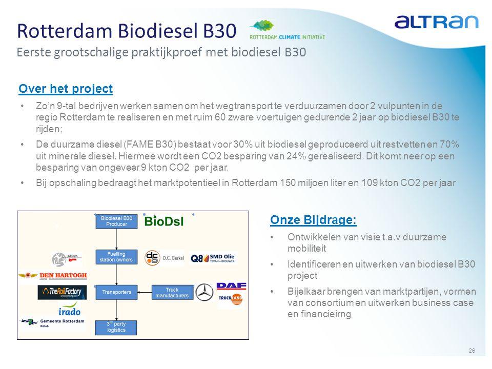 26 Rotterdam Biodiesel B30 Eerste grootschalige praktijkproef met biodiesel B30 Over het project •Zo'n 9-tal bedrijven werken samen om het wegtranspor