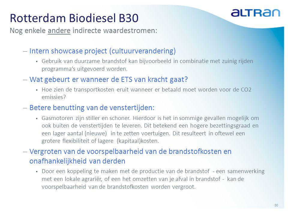 30 Rotterdam Biodiesel B30 Nog enkele andere indirecte waardestromen: – Intern showcase project (cultuurverandering)  Gebruik van duurzame brandstof