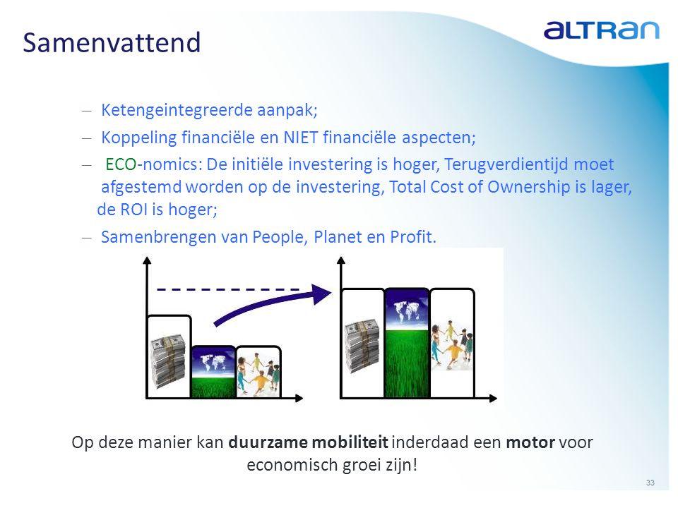 33 Op deze manier kan duurzame mobiliteit inderdaad een motor voor economisch groei zijn! Samenvattend – Ketengeintegreerde aanpak; – Koppeling financ