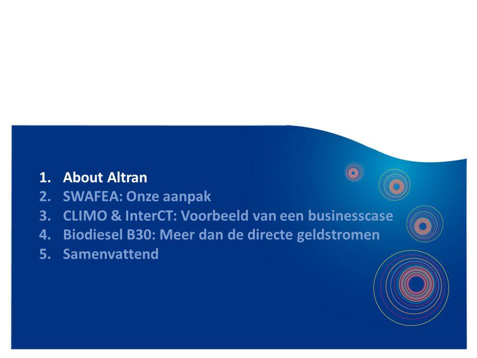 4 1.About Altran 2.SWAFEA: Onze aanpak 3.CLIMO & InterCT: Voorbeeld van een businesscase 4.Biodiesel B30: Meer dan de directe geldstromen 5.Samenvatte