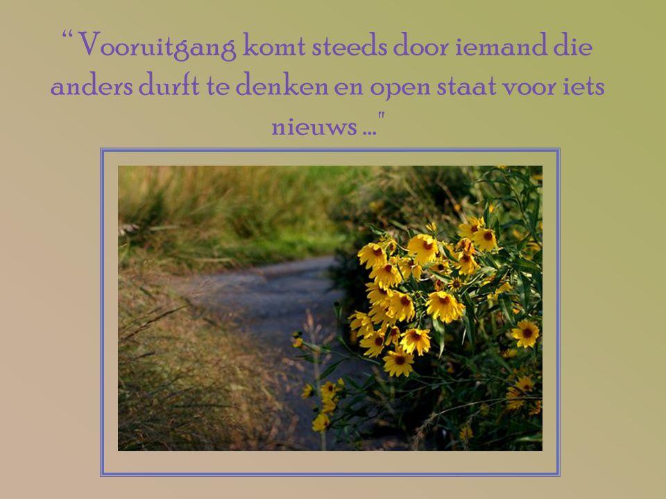 """"""" Vooruitgang komt steeds door iemand die anders durft te denken en open staat voor iets nieuws..."""